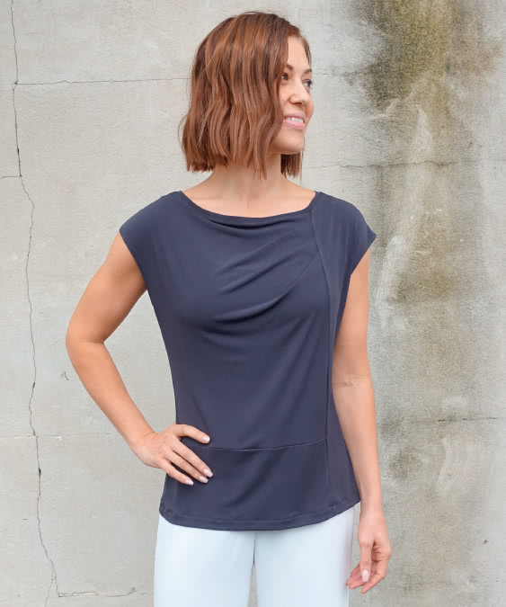 Lotti Knit Top Sewing Pattern By Style Arc - Fashionable panelled knit top with extended shoulder and front tucks
