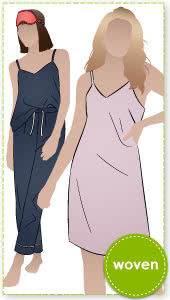 Loungewear Camisole or Nightie By Style Arc - V-neck camisole and nightie sewing pattern