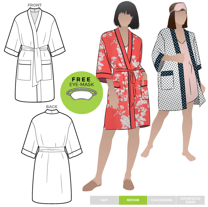 Loungewear Kimono By Style Arc - Traditional kimono sewing pattern with patch pockets and tie belt