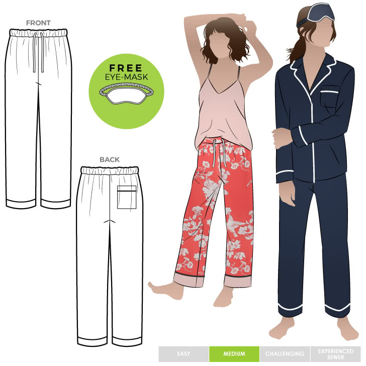 Loungewear PJ Pant By Style Arc - Traditional pyjama pant featuring patch a pocket, elastic waistband and optional piping.