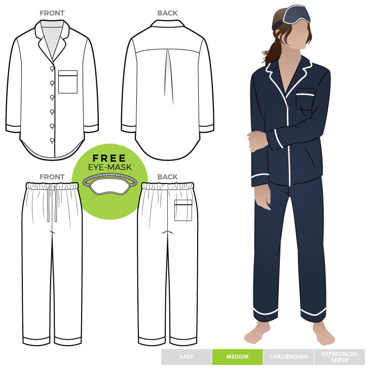 Loungewear PJ Shirt and Pant Set Sewing Pattern Bundle By Style Arc - Discounted loungewear sewing pattern bundle including a PJ shirt, PJ Pant and eye mask patterns