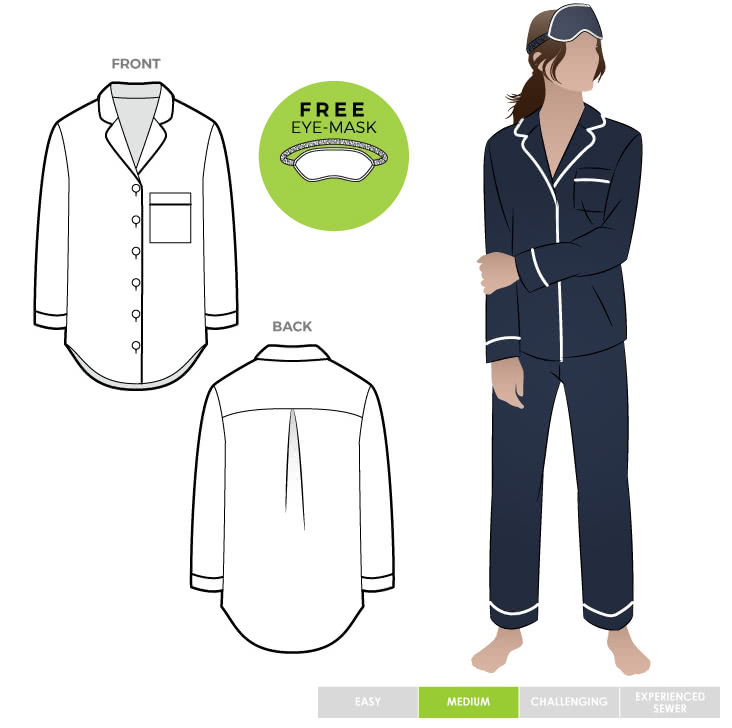 Loungewear PJ Shirt By Style Arc - Traditional pajama shirt sewing pattern featuring a patch pocket and optional piping