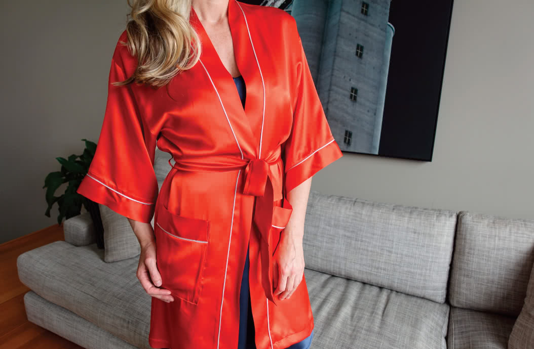Loungewear Robe By Style Arc - Traditional robe sewing pattern with patch pockets and tie belt