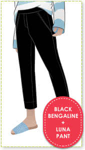 Luna Stretch Pant + Black Bengaline Fabric Sewing Pattern Fabric Bundle By Style Arc