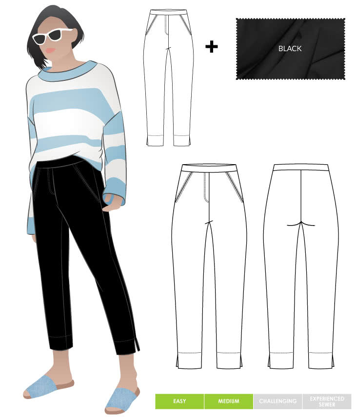 Luna Stretch Pant + Black Bengaline Fabric Sewing Pattern Fabric Bundle By Style Arc