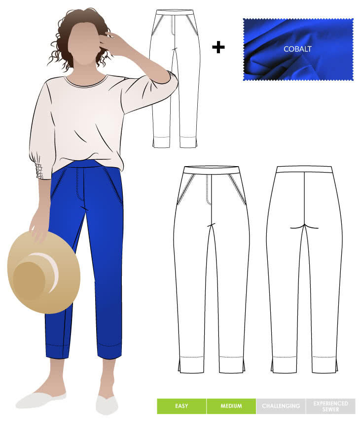 Luna Stretch Pant + Cobalt Bengaline Fabric Sewing Pattern Fabric Bundle By Style Arc
