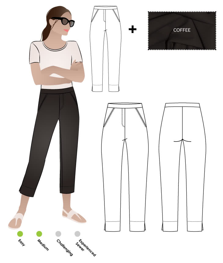 Luna Stretch Pant + Coffee Bengaline Fabric Sewing Pattern Fabric Bundle By Style Arc