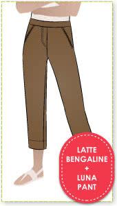 Luna Stretch Pant + Latte Bengaline Fabric Sewing Pattern Fabric Bundle By Style Arc