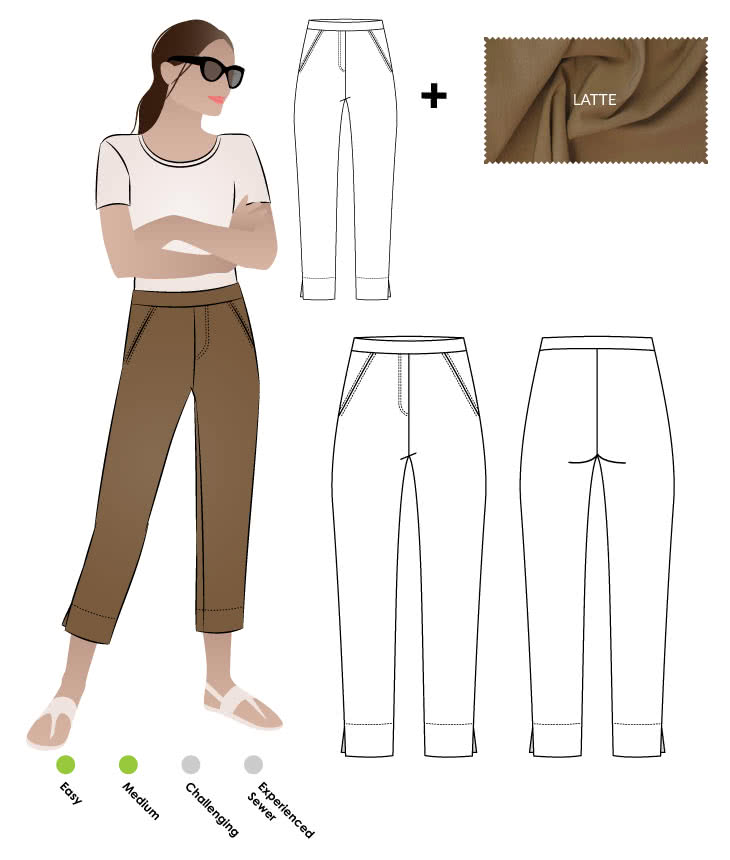 Luna Stretch Pant + Latte Bengaline Fabric Sewing Pattern Fabric Bundle By Style Arc