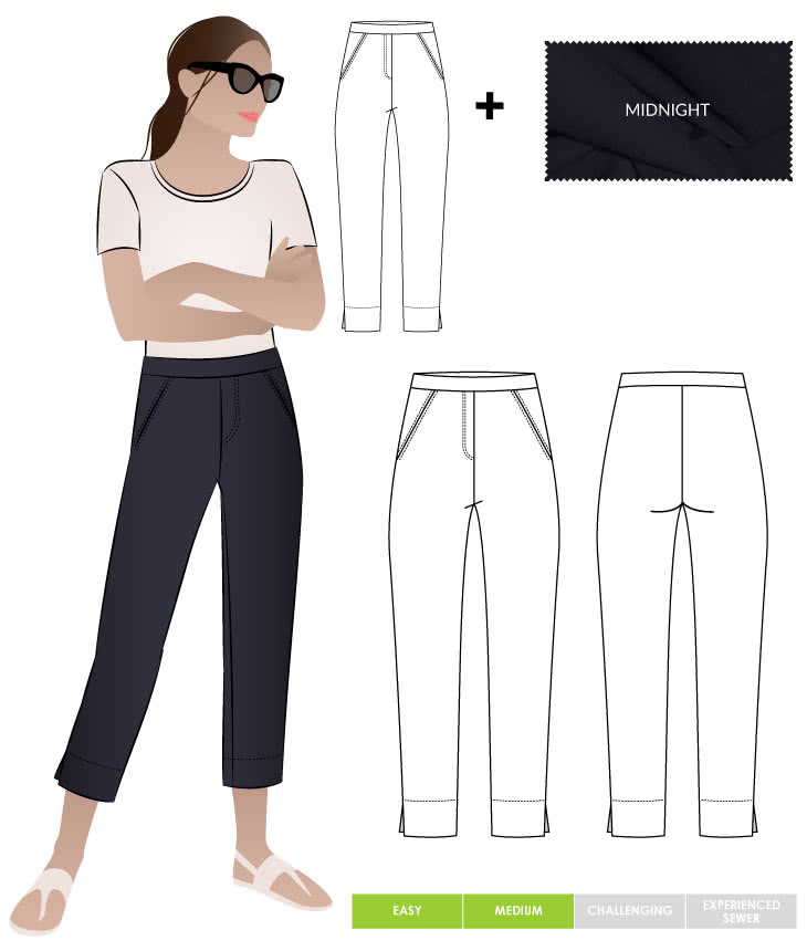 Luna Stretch Pant + Midnight Bengaline Fabric Sewing Pattern Fabric Bundle By Style Arc