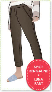 Luna Pant + Spice Bengaline Sewing Pattern Fabric Bundle By Style Arc - Luna Stretch Pant pattern + Spice Stretch Bengaline fabric bundle
