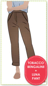 Luna Stretch Pant + Tobacco Bengaline Fabric Sewing Pattern Fabric Bundle By Style Arc