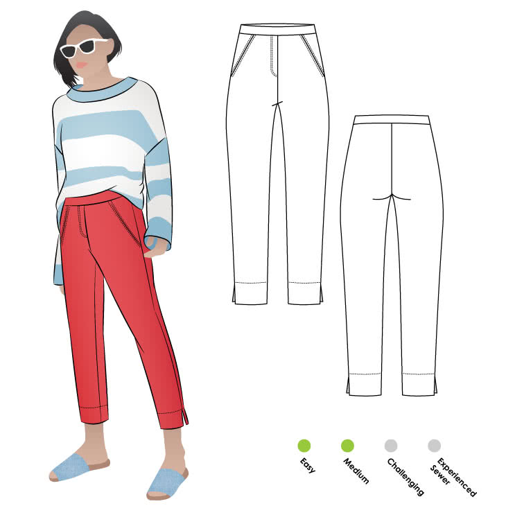 Luna Stretch Pant Sewing Pattern By Style Arc - Pull on stretch pant featuring a 7/8th leg length with side hem splits.