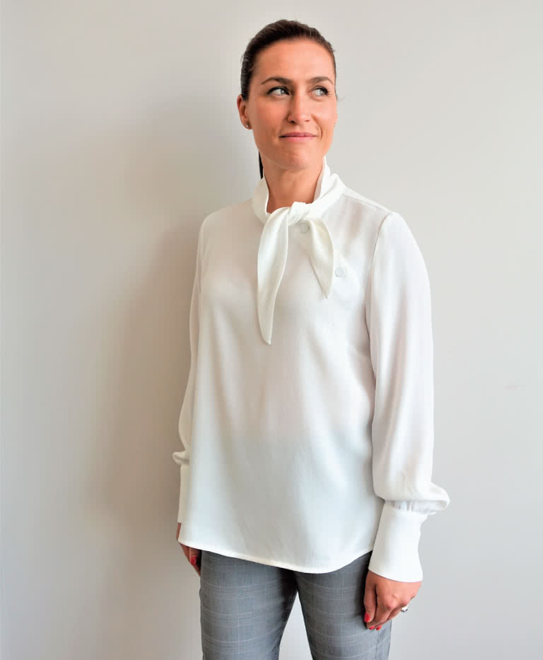 Macey Blouse By Style Arc - Feminine blouse sewing pattern with neck tie