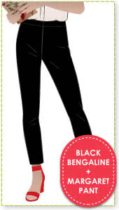 Margaret Stretch Woven Pant and Black Bengaline Fabric Sewing Pattern Fabric Bundle By Style Arc