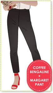 Margaret Stretch Woven Pant + Coffee Bengaline Fabric Sewing Pattern Fabric Bundle By Style Arc