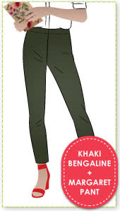 Margaret Stretch Woven Pant and Khaki Bengaline Fabric Sewing Pattern Fabric Bundle By Style Arc