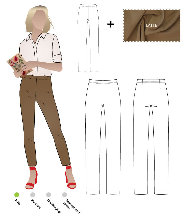 Margaret Stretch Woven Pant + Latte Bengaline Fabric Sewing Pattern Fabric Bundle By Style Arc