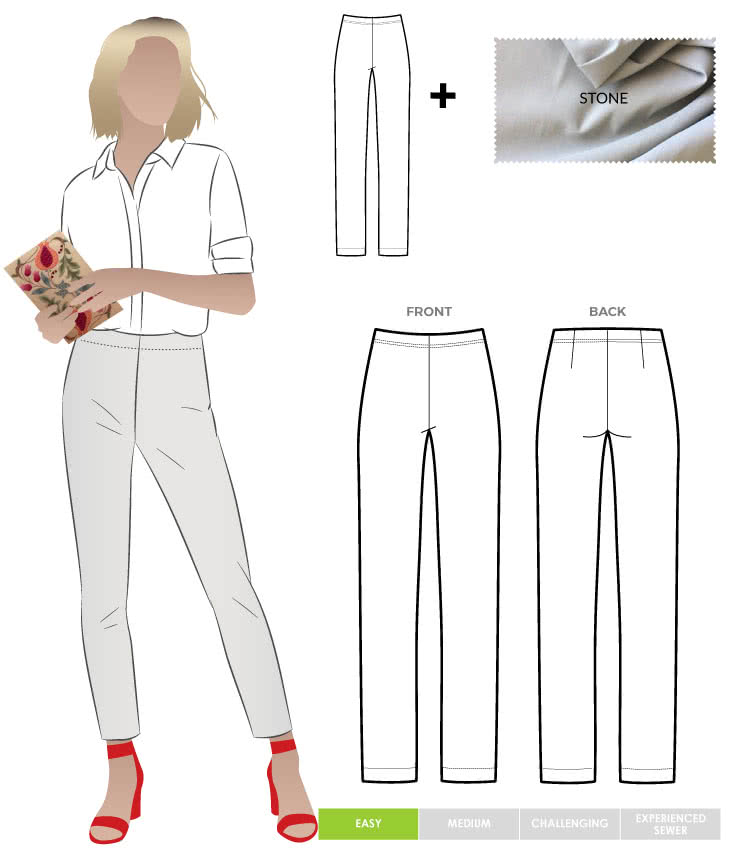 Margaret Stretch Woven Pant and New Stone Bengaline Fabric Sewing Pattern Fabric Bundle By Style Arc