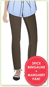 Margaret Stretch Woven Pant + Spice Bengaline Fabric Sewing Pattern Fabric Bundle By Style Arc