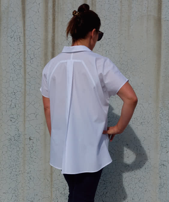 Martha Overshirt Sewing Pattern By Style Arc - Designer shirt featuring a swing back, extended shoulder and a neat shirt collar.