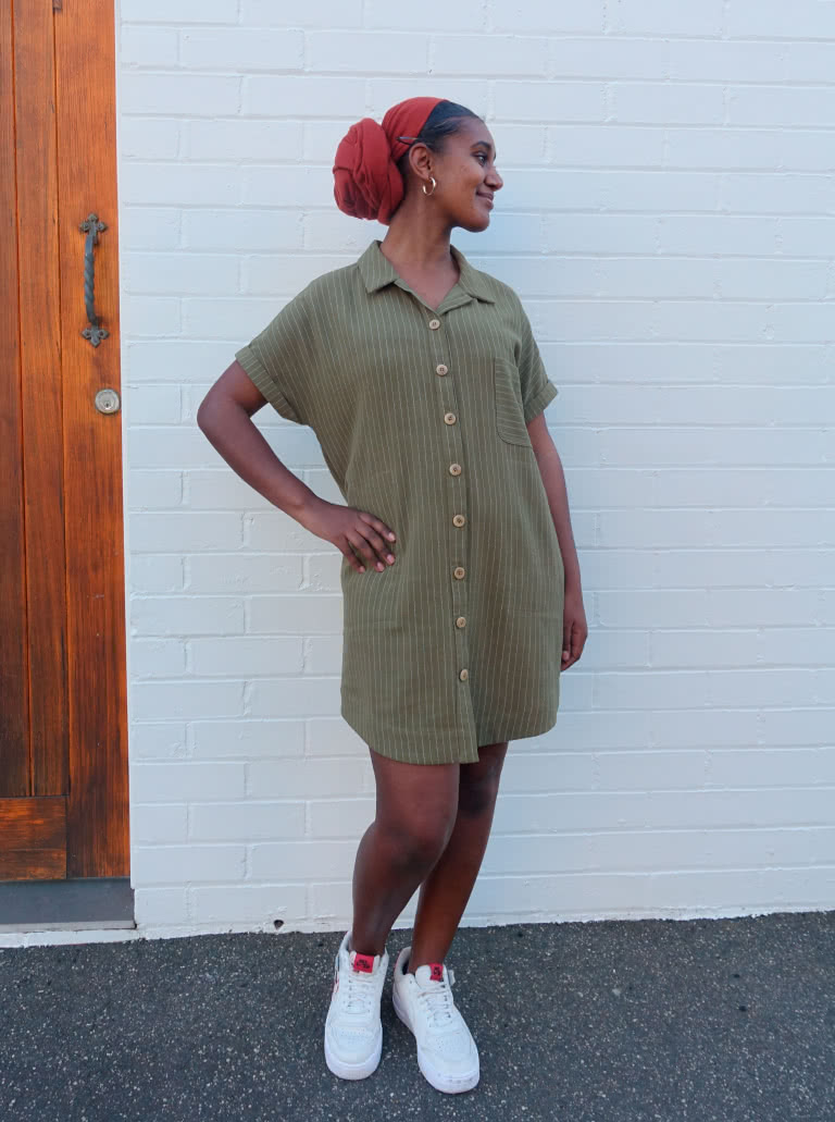 Max Tunic Dress By Style Arc - Button through tunic featuring dropped shoulders, shaped hem, collar and inseam pockets