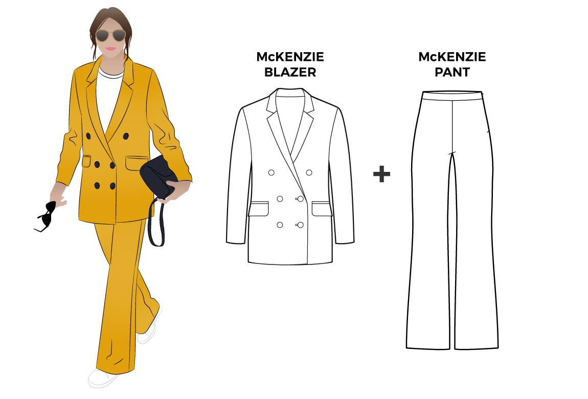 McKenzie Set Sewing Pattern Bundle By Style Arc - Discounted bundle of two sewing patterns to create a gorgeous look. You get patterns for a fashionable woven pant and a casual long line double-breasted blazer with pockets.