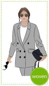 McKenzie Woven Blazer Sewing Pattern By Style Arc - Casual long line double-breasted blazer with pockets.