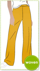 McKenzie Woven Pant Sewing Pattern By Style Arc - Fashionable pant featuring a shaped waist band, side zip and slight flared leg.