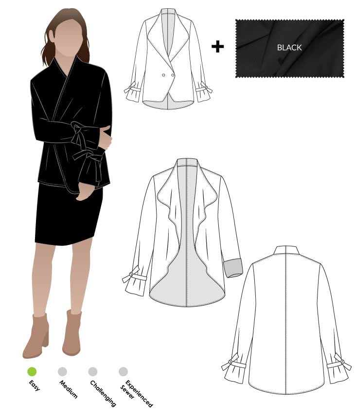 Meghan Jacket + Black Ponte Knit Fabric Sewing Pattern Fabric Bundle By Style Arc