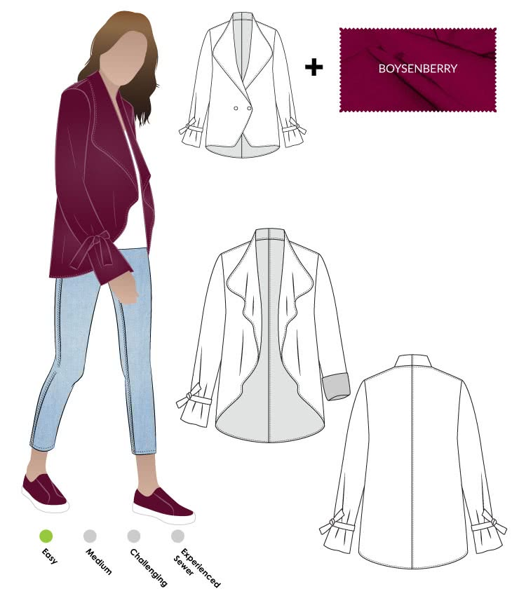Meghan Jacket + Boysenberry Ponte Knit Fabric Sewing Pattern Fabric Bundle By Style Arc