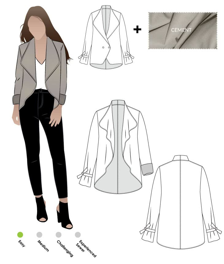 Meghan Jacket + Cement Ponte Knit Fabric Sewing Pattern Fabric Bundle By Style Arc