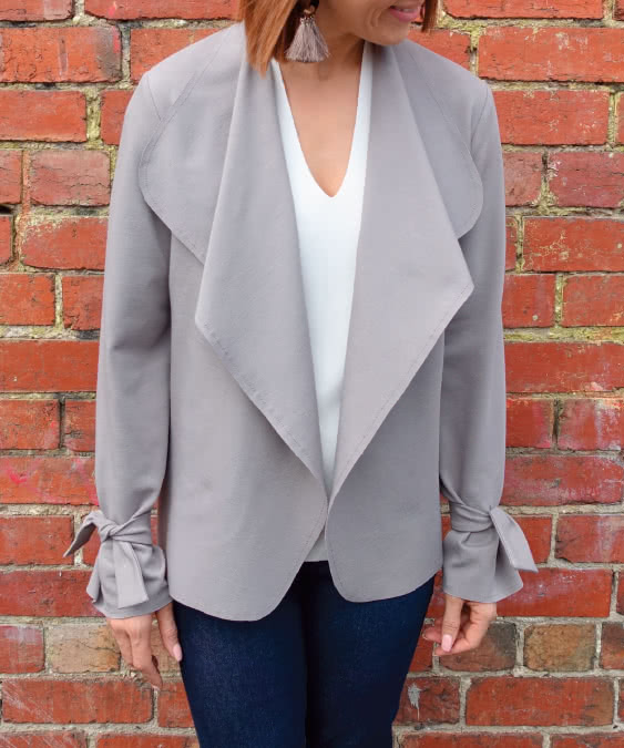 Meghan Jacket Sewing Pattern By Style Arc - A new take on the classic waterfall jacket sewing pattern.