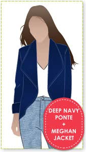 Meghan Jacket + Navy Ponte Knit Fabric Sewing Pattern Fabric Bundle By Style Arc