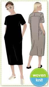Melba Dress By Style Arc - Short sleeve pull on dress featuring slight cocoon shape body.