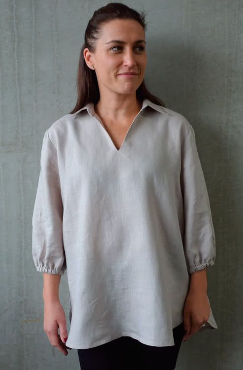 Melody Tunic Sewing Pattern By Style Arc - Tunic top V-neck collared sewing pattern