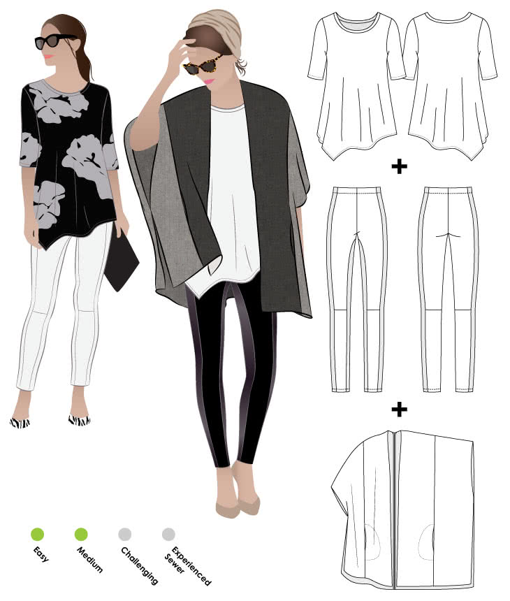 Mickie Cape + Kim Swing Top + April Pant Bundle Sewing Pattern Bundle By Style Arc - Discounted cape, t-shirt and pant bundle. You get three patterns in this fabulous discounted pattern bundle.