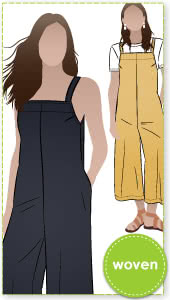 Mildred Jumpsuit By Style Arc - Casual pull-on jumpsuit featuring shoulder straps in seam pockets.