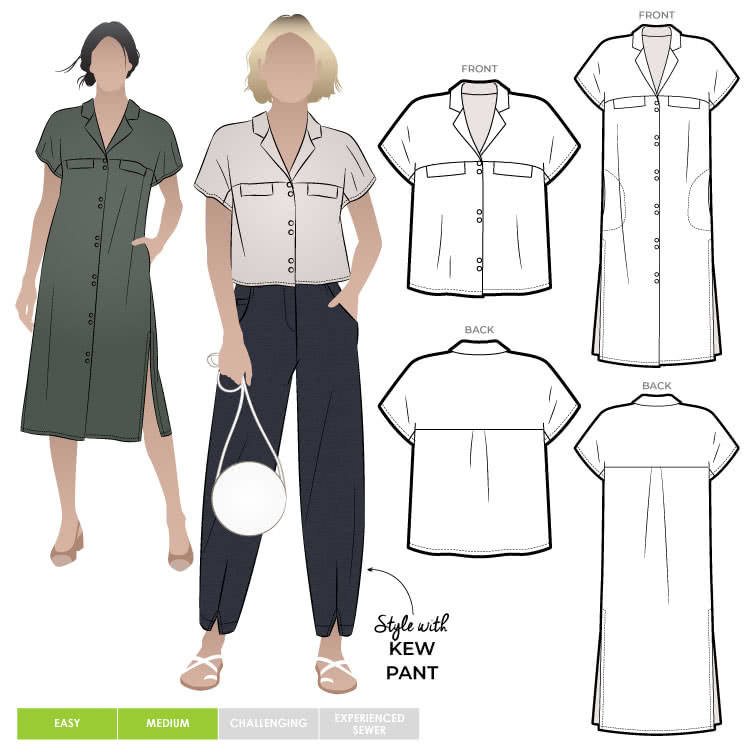 Monty Shirt and Dress By Style Arc - This is a two in one pattern, an easy fit dress and shirt which features a neat revere collar and an extended shoulder line.