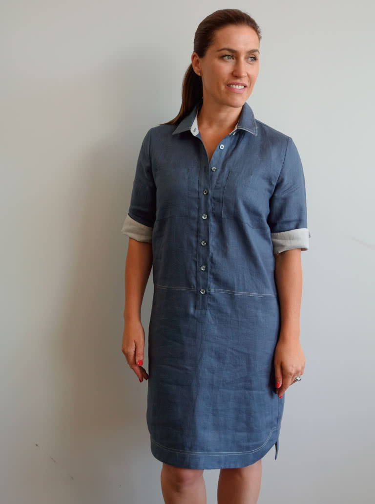 Murphy Woven Dress By Style Arc - Shirt maker dress featuring a cuffed mid length sleeve and shaped hi - low hem line with a difference.
