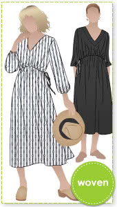 """Naomi Woven Dress By Style Arc - """"V"""" neck, pull on long line dress with draw string waist"""