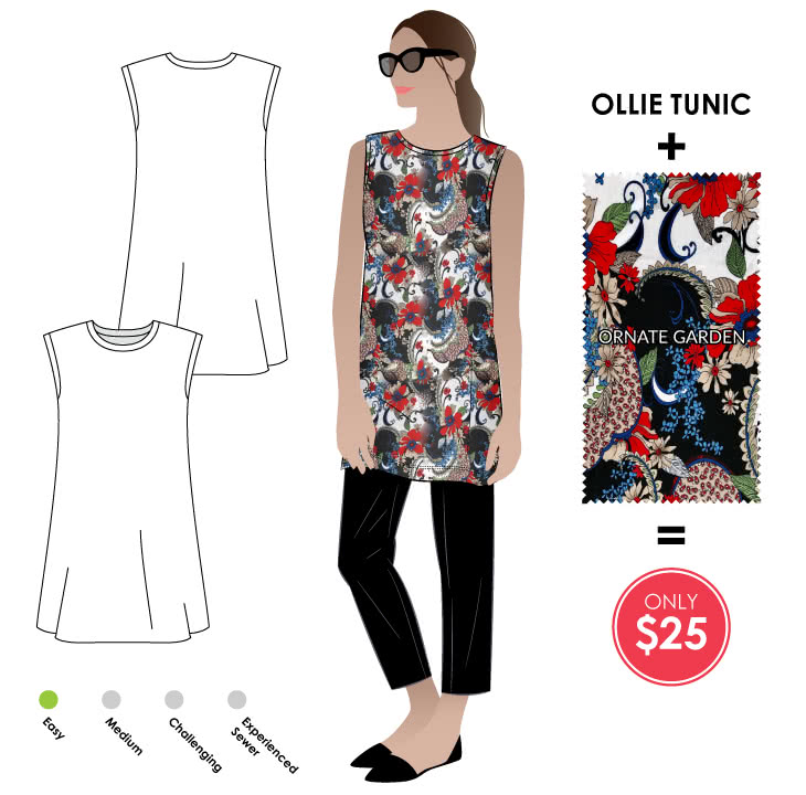 Ollie Tunic + Polyester Dry Knit - Ornate Garden Sewing Pattern Fabric Bundle By Style Arc