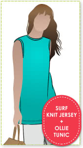 Ollie Tunic + Surf Knit Jersey Sewing Pattern Fabric Bundle By Style Arc