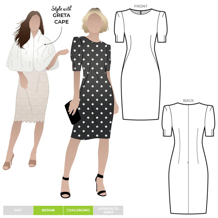 Paris Dress Sewing Pattern By Style Arc - Little black dress with padded square shoulders