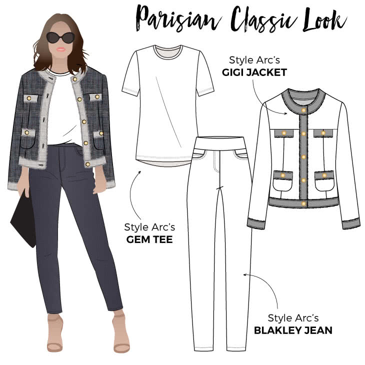 Parisian Classic Look Sewing Pattern Bundle By Style Arc - Get the Parisian Classic Look with this discounted three-pattern bundle. Includes Gigi Jacket, Blakley Stretch Jean and Gem Tee.