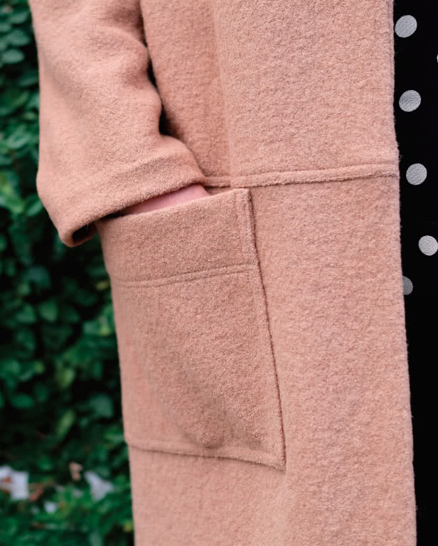 Parker Coat Sewing Pattern By Style Arc - On trend long line casual knit coat with patch pockets.