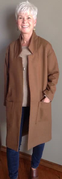 Parker Coat Sewing Pattern By Sheryl And Style Arc - On trend long line casual knit coat with patch pockets.