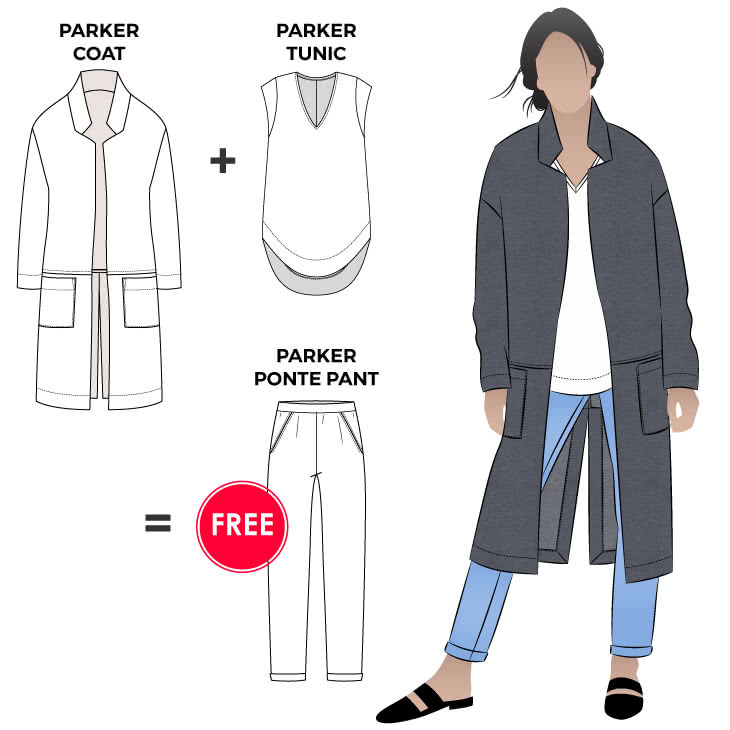 Parker Outfit Bundle Sewing Pattern Bundle By Style Arc - Gorgeous three pattern discounted bundle. Get the Parker Coat, Tunic and Pant together to make this fabulous outfit.