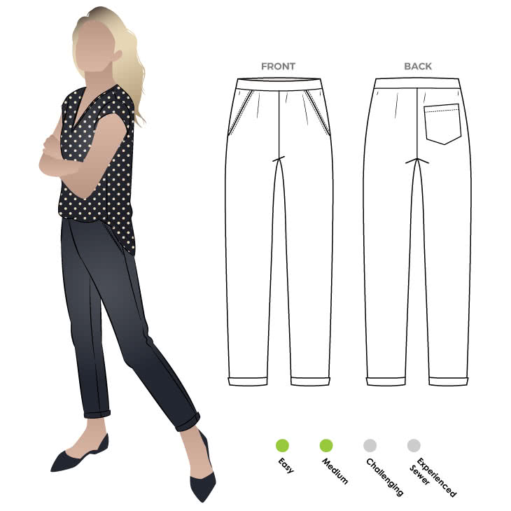 Parker Ponte Pant Sewing Pattern By Style Arc - Fashionable pull-on elastic waist pant with hem cuffs.