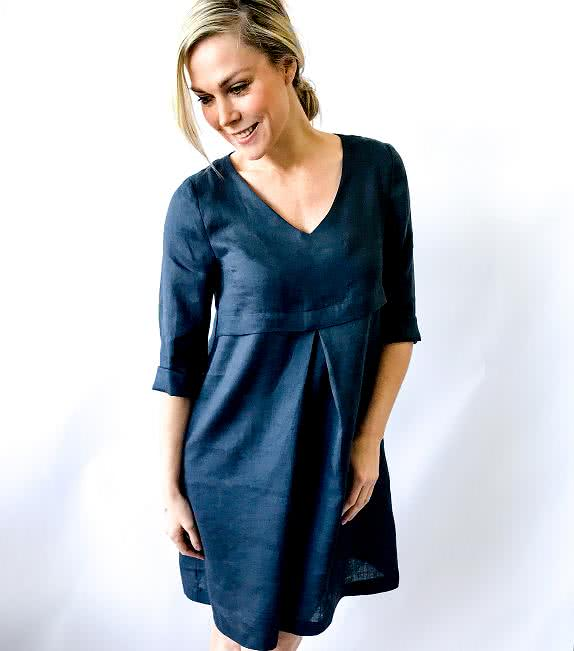 Patricia Rose Dress Sewing Pattern By Style Arc - Loose fitting V-neck dress with front inverted pleat and in-seam pockets.